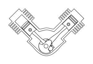 Verschiedene Motorbauarten erklärt: V-Motor.